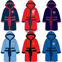 Childrens Boys Official Football Fleece Hooded Dressing Gown Robe Age 3-12 Years