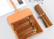 Vintage Genuine Leather Pencil Pen Case Roll Up Pouch Brush Holder Brown