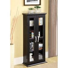 Media Storage Cabinet With Doors Wood Glass CD DVD Display Black Tower Case New