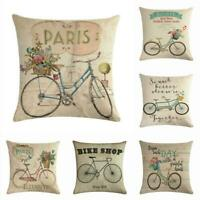 Vintage Bicycle Pillow Case Cotton Linen Throw Waist Cushion Cover Home Decor18""