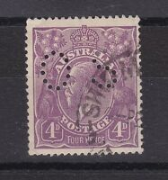 "G95) Australia 1921 KGV 4d Violet perf. OS Fine Used ""retouched thin 4d"