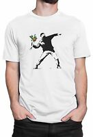"T-shirt Uomo ""Flower Bomber - Banksy"" - maglietta 100% cotone - Bianco"