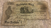 British Banknote. Darlington Bank. Five Pounds. Dated 1886. Collectible Note.