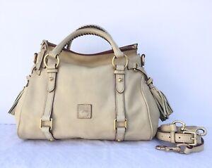 Dooney & Bourke Florentine Leather Satchel Tassel Shoulder Bag Bone Shows Wear