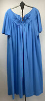 Vtg Shadowline Womens Nylon Gown Flutter Sleeve Embroidered Blue Size 1X