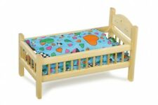 Puppenbett aus Kiefernholz, inkl. Bettwäsche