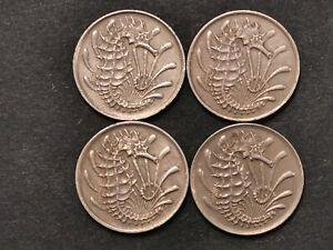 Singapore 10 ten cents 1968 3 pcs 1973 1 pcs seahorse EF