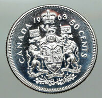 1963 CANADA Queen Elizabeth II Arms Old PROOF-LIKE SILVER 50 Cents Coin i85074