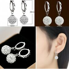 Luxury Fashion Women Silver Plated Crystal Ear Stud Earrings Hook Dangle Jewelry