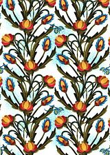 Fabric #2322 Orange Gold Floral Vine Jason Yenter Sold by 1/2 Yd See Description