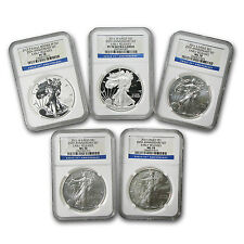 2011 5-Coin Silver Eagle Set MS/PF-70 NGC (ER, 25th Anniv) - SKU #66422