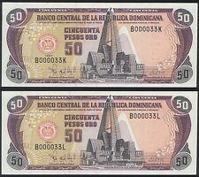 Dominican Rep LOW S/N 000033 P 155 a - 50 Pesos Oro 1997 - UNC