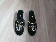LADIES BLACK ORIENTAL/CHINESE STYLE/PATTERNED SLIPPERS WITH SEQUINS SIZE 6