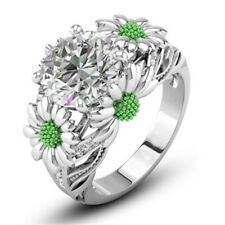 Green Color Round White Sapphire Daisy Charm Ring 925 Silver Lady Size 10