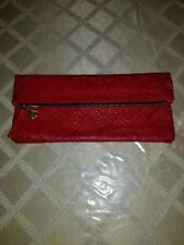 Clare V Vivier Red Foldover Woven Leather Clutch