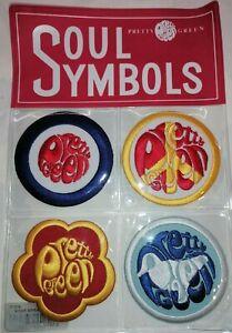 Pretty Green Soul Symbols Mens Sew/Iron-On Fabric Mod Retro Badges Set Of 4