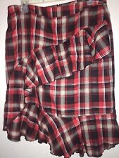 Hanna Anderson Skirt Size 12 Red Black & Ivory Plaid Lined