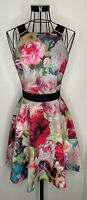 TED BAKER 'SAMRA' ROSE FLORAL PRINT DRESS BLACK BUCKLE NECKLINE SIZE 1 UK 8