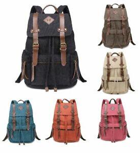 Mens Lady Vintage Canvas Backpack School Bag Satchel Rucksack Travel Camping Bag