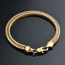 Solid 18k Gold Plated Bracelet Men's 6mm Chain Fashion Jewelry Party Gift