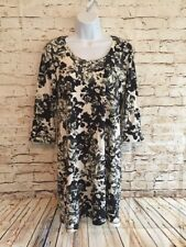 Soma Intimates Womens Black White Floral  PJ Nightgown Sleep Shirt Size S Knit