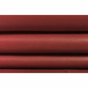 RED leather fabric, red leather hide, genuine lambskin leather hide, dirty red l