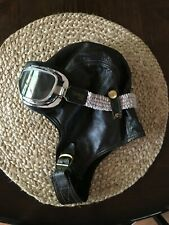 Leather Aviator Headgear with Goggles, size Large