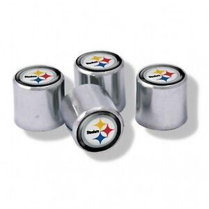 Chrome Plastic Football Pittsburgh Steelers Tire Valve Stem cap Covers 4 Pc set