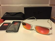 New Ray-Ban Light Ray Wayfarer RB4225 646/6Q matte transparent / Red-Fire Mirror