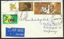1970 45c Australia 30c James Cook Grasslands Coil Queen Air Mail to West Germany