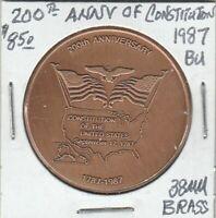 (Z)  Token - Bicentennial of Constitution - 1987 - BU - 38 MM Brass