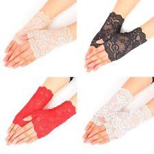Women Gloves Hollow Lace Party Wedding Summer Short Gloves Wrist Fingerless