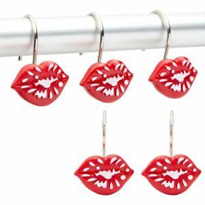 Red Lips Shower Curtain Hooks, Girly Bathroom Decor (Stainless Steel, 12Pack)