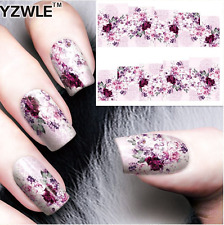 Nail Art Water Decals Stickers Transfers Pink Purple Flowers (A-58)