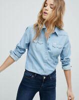 Lee Women Buttoned Blue Denim Western Shirt Long Sleeve Top Blouse 8 10 12 14 16