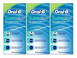 (3 Pack x 50 ct ) Oral-B Super Floss Dental Pre-Cut Strands Mint Braces,Bridges