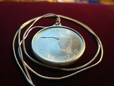 "1967 Canada Silver Dollar Goose 925 Silver Pendant on 28"" 925 Silver Snake Chain"