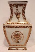 """Vintage Style Porcelain Rectangular Flower Vase with Gold Gild Floral Design 13"""""""