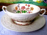 Booths Wild Rose Cream Soup Bowl & Saucer, c1930s English Soup Bowl & Underplate