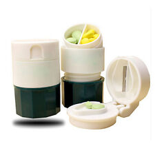 Portable 4 Layer Pill Crusher Grinder Splitter Divider Cutter Storage Box