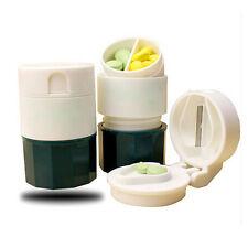 Portable 4 Layer Pill Crusher Grinder Splitter Divider Cutter Storage Box New