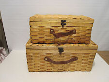Set Of 2 Suitcase Style Picnic Basket With Lid