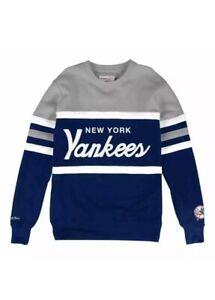 New York Yankees Mitchell & Ness MLB Men's Head Coach Crew Sweatshirt Sz Large