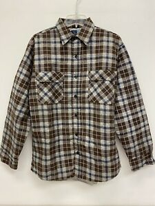 Vintage Sears Perma Prest Plaid Flannel shirt L Tall 16-16 1/2 Brown Quilt Lined