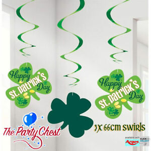 3 HAPPY ST PATRICKS DAY HANGING SWIRLS Irish Shamrock Hanging Party Decorations