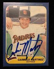 CARLOS MARTINEZ 1986 FLEER Autographed Signed AUTO Baseball Card 329 PADRES