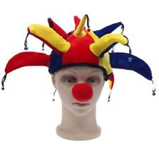 Funny Happy Jester Clown Hat With Nose Costume Halloween Party Props Supplies FG