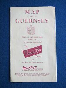 Vanity Box & Mackays ( Guernsey ) map of Guernsey  1950's