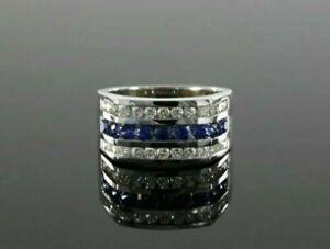 Channel Set Engagement Modernist Men's Ring 1.6 Ct Round Sapphire 14K White Gold