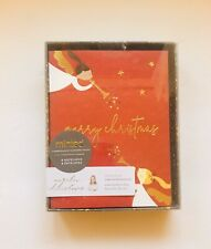 Minted Red Christmas Boxed Cards Gold Trumpets  (Set 8 Notecards & Envelopes)